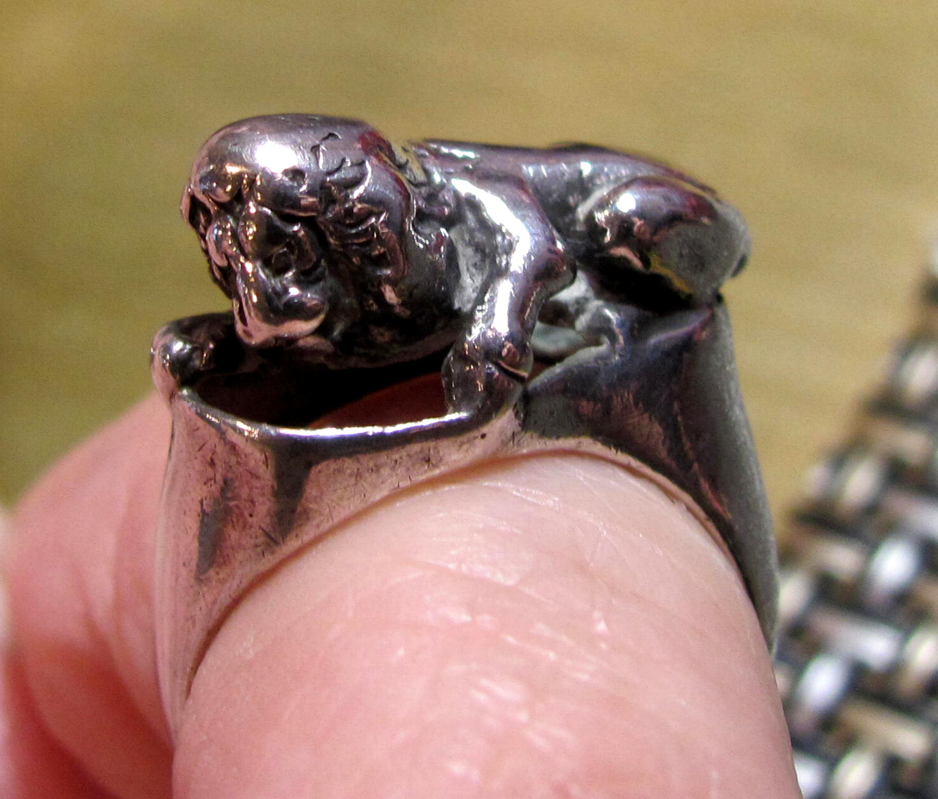Handmade Sandcast Lion Ring Sterling Silver Lion Ring Silver