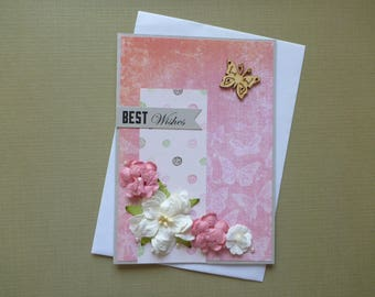 Floral Best Wishes Card  FREE SHIPPING