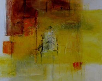 painting, abstract, oil on canvas, 80x80, yellow, orange
