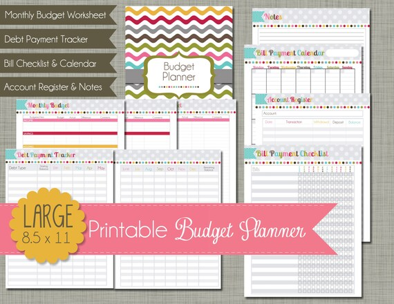 budget planner printable set sized large 8 5 x 11