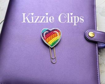 Rainbow Heart Planner Clip, Planner Clips, Planner Accessory, Feltie, Feltie Clips, Bookmark, Paper Clip, Paper Clips RTS 82
