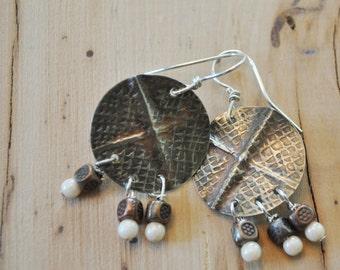 Silver nickel earrings, fold formed metal earrings, rustic earrings, artisan earrings