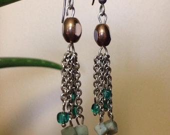 Blue Rock Dangle Earrings