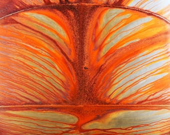 Orange Rust Marks, Watermarks, pattern, lines, silver, brown, red, abstract, photograph