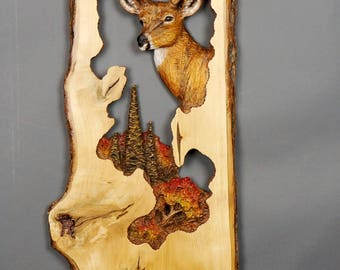 Deer,Wall carving,Wood Carving with Bark,Hand Made Gift,Wall Hanging sculpture,for the Deer Funs,Wall Art,Wooden Gift, OOAK by Davydovart
