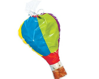 Hot Air Balloon Shaped Party Favor Treat Cello Bags with Ties
