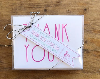 Thank You Cards for Kids   Letterpress Notecards for Kids   Hand Made Stationery   Set of 8 Notecards with Envelopes