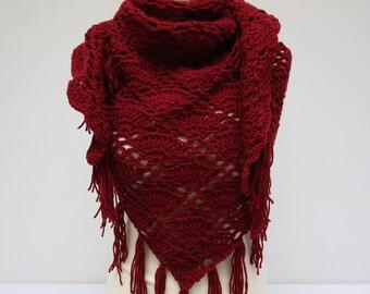 Temporary sold-cozy handmade, crochet shawl/scarf dark red