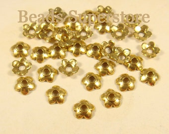 6.5 mm x 2 mm Antique Gold Flower Bead Cap - Nickel Free, Lead Free and Cadmium Free - 50 pcs