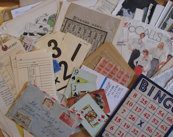 100 pieces of Mixed Media Paper Ephemera for Collage, Altered Arts & Mixed Media Projects