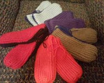 Adult and teen's Crocheted Slippers