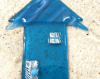 Little Cottage Suncatcher House in Turquoise Blue with Dichroic Accents