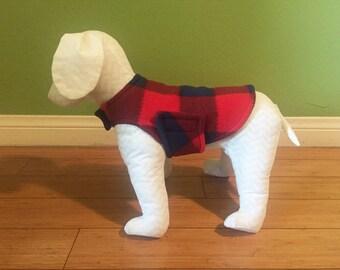 Fleece Dog Coat, Extra Small, Small, or Medium Navy Blue and Red Buffalo Check Plaid with Navy Fleece Lining