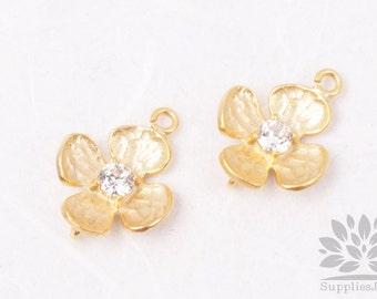 P456-MG// Matt Gold Plated Cubic Flower Pendant, 2pcs