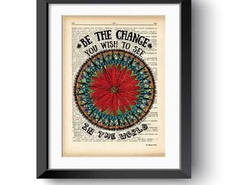 Mandala print-be the change you wish print-mandala dictionary print-Gandhi print-Mandala wall art-Mandala on book page-by NATURA PICTA-DP163