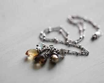 Gemstone Cluster Necklace, Aquamarine, Citrine, Smoky Quartz, Pyrite, Labradorite, Sterling Silver Bead Chain, 16 Inch
