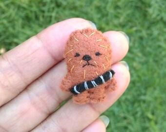 Felt Miniature Chewbacca, Chewie Miniature Plush, Tiny Felt Chewie, Felted Miniature Chewie, Handmade Tiny Chewbacca, Star Wars Plush Toy