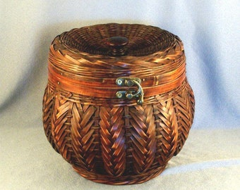 Decorative Storage Basket // Basket Weave // Dyed Material // Unusual Closure