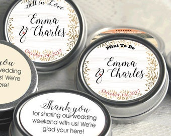 120 Personalized Mint to Be Tin Mints Wedding Favor - Mint to Be Favor - Bridal Shower Favor - Mint Favors  - Fall Leaves - Fall Wedding
