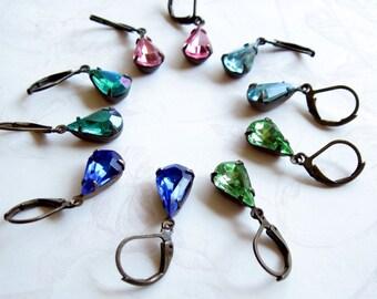 Teardrop Rhinestone Earrings Birthstone Earrings Pink Earrings Blue Earrings Green Earrings Topaz Earrings Petite Earrings Vintage Style
