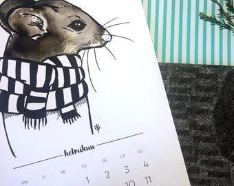 2018 Värityskalenteri // Käsinpiirretty, kuvitettu seinäkalenteri, Huivi eläimet, Pohjolan eläimet // scarf animals, Coloring calendar 2018