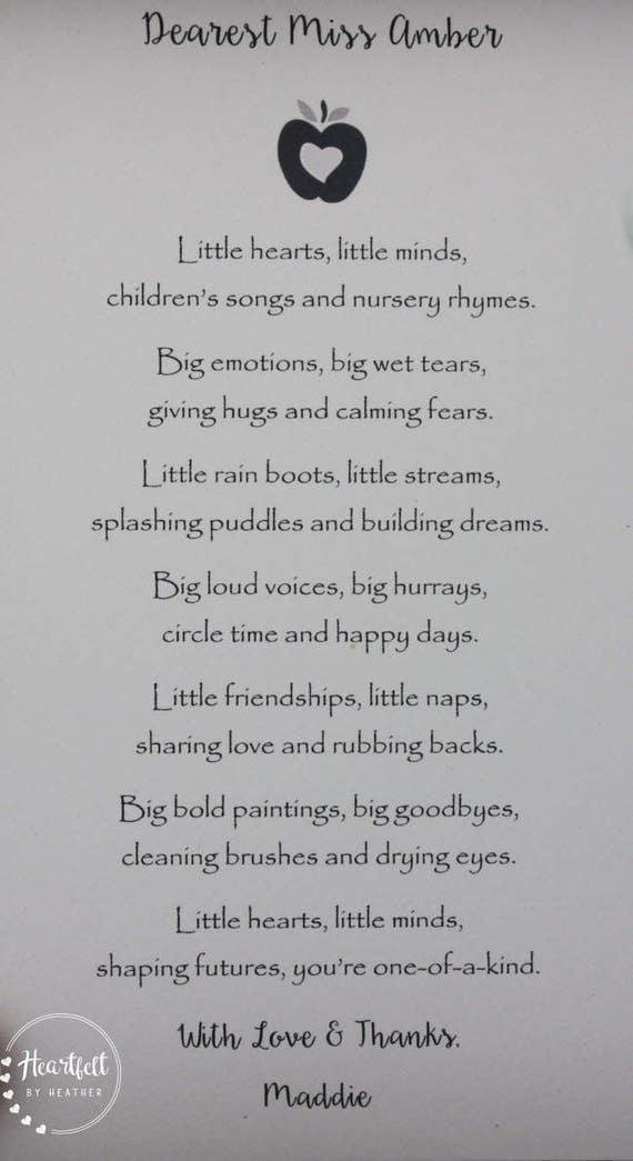 Preschool Teacher Thank You Gift Daycare Provider Poem