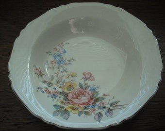 Floral Bowl, Crown Potteries Co, Shallow Serving, 40s, 50s, Vintage, Pottery, Roses, Cottage, Shabby, USA Made