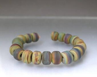 20 Handmade glass beads, Raku bead set, artisan beads, Raku spacers Brown beadsEarthy beads Raku lampwork glass beads Anne Londez  SRA