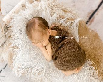 Newborn Romper, Newborn Photo Prop, Romper Shorts, Sitter Romper, Wool Romper, Romper and Hat set
