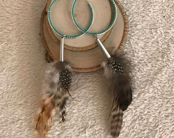 Turquoise colored Beaded Hoop Feather Earrings