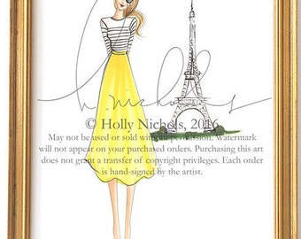 Oui Oui Paris (Two hair and skirt color options)(Fashion Illustration Print)