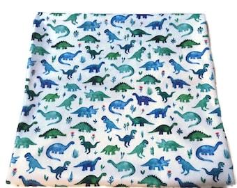 Dinosaur Blanket, Lovey, Infant, Toddler Bedding, Birth Announcement, Dino