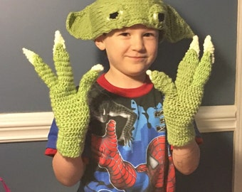 Yoda hat and claw gloves