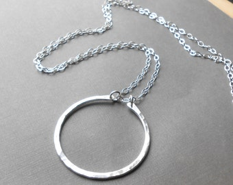Large Hammered Sterling Silver Circle Pendant Necklace