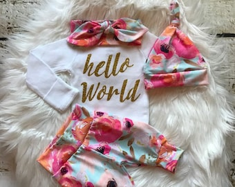BABY GIRL coming home outfit/newborn girl coming home outfit/baby shower gift/baby girl clothes/baby leggings/expecting mom/baby hat/new mom