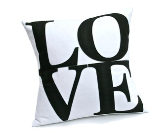 LOVE Throw Pillow Cover Appliquéd in Black on White Eco-Felt 18 inches
