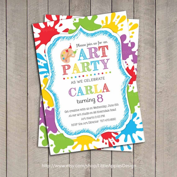 Art Party Invitation Kids Art Party invitation Printable