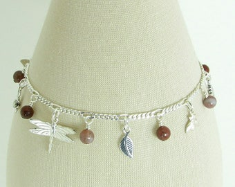 Indian Agate and Sterling Silver Garden Charm Bracelet