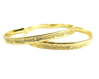 Gold Plated Root Design Cuff  - (1x) (K736)