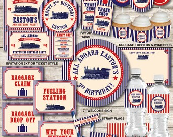 Train Birthday Decorations, Train Birthday Party Decorations, Vintage Train Decorations, Train Party, Printable PDF Files