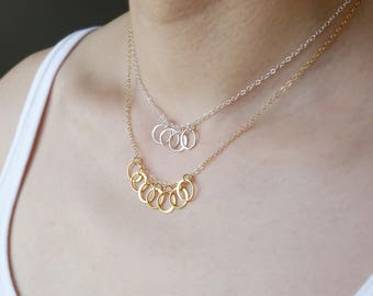 70th Birthday Gift for Her, Mothers Day Gift 7th Anniversary Gift for Her, 7 Best Friends Necklace, Bridesmaid Gift for 7  Sisters BFF Gift