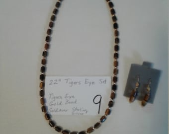 Tigers Eye Necklace and Earrings