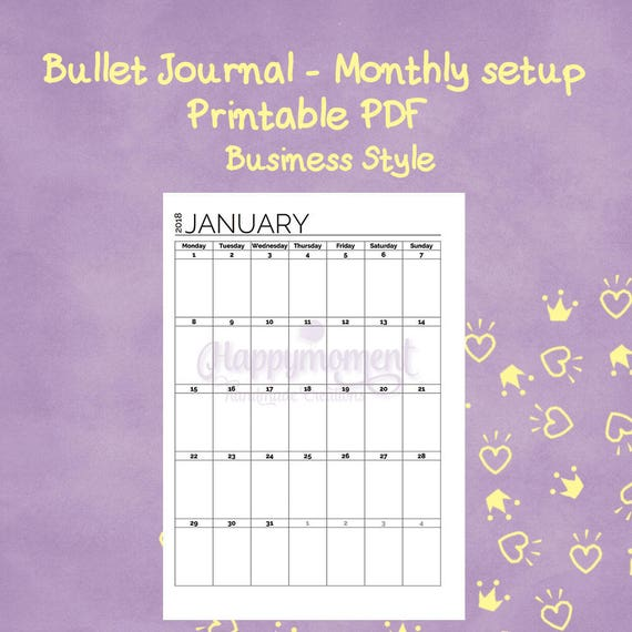 Bullet Journal  Monthly Calendar January June A Or