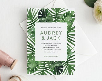 Beach Wedding Invitation Set, Tropical Wedding Invitation Set, Palm Tree Invitation Set, Printable Destination Wedding