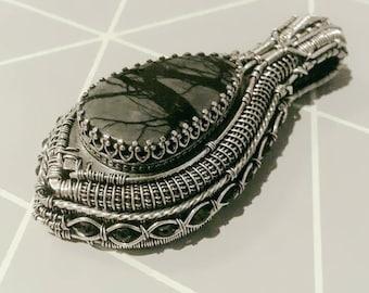Black teardrop pendant - jasper and spinel in sterling and fine silver, wirewrapped hybrid jewelry, handmade OOAK