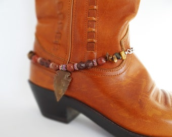Boot bracelet, Southwestern boot bracelet, Tigerseye boot bling, Western boot anklet, Boot jewelry, Cowgirl boot accessories, Arrowhead OOAK