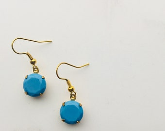 Bright turquoise round faceted earrings