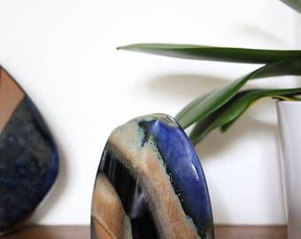 Small vase in blue, Black ceramic and stoneware 50s/60s
