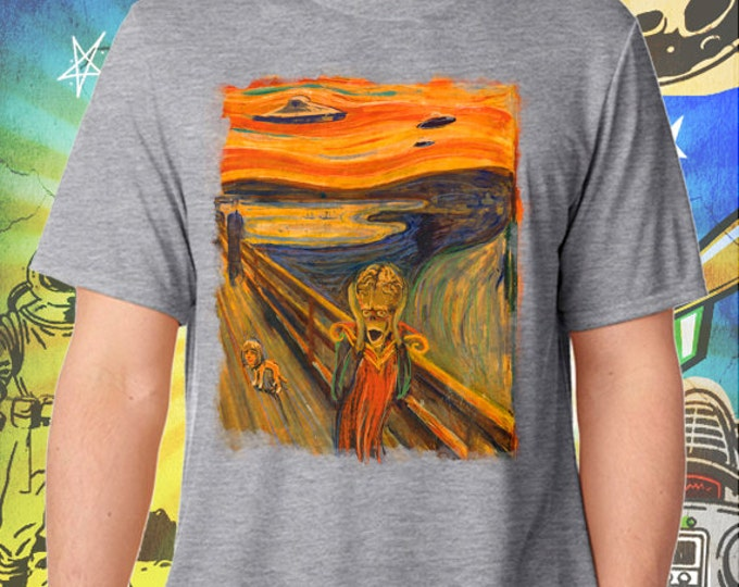 """Mars Attacks / Edvard Munch's """"The Scream"""" meets """"Mars Attacks"""" / Men's Gray Performance T-Shirt"""
