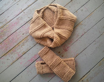 Infinity scarf and fingerless gloves made to order knitted handmade